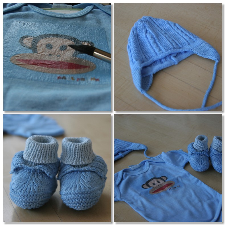 Blue monkey baby layette