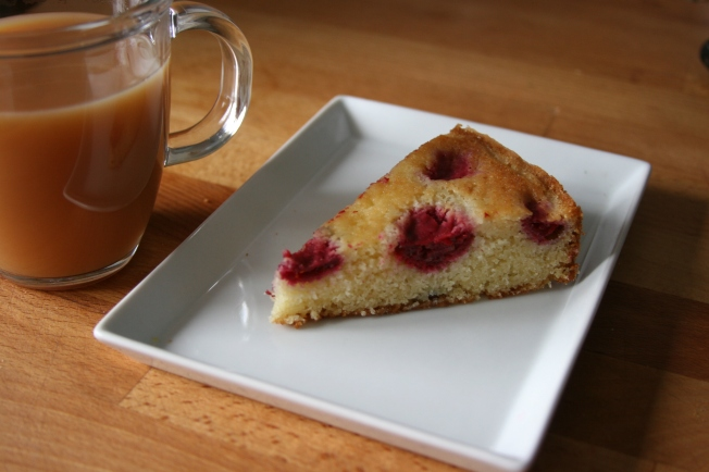 buttermilk cake, with frozen raspberries dropped in it