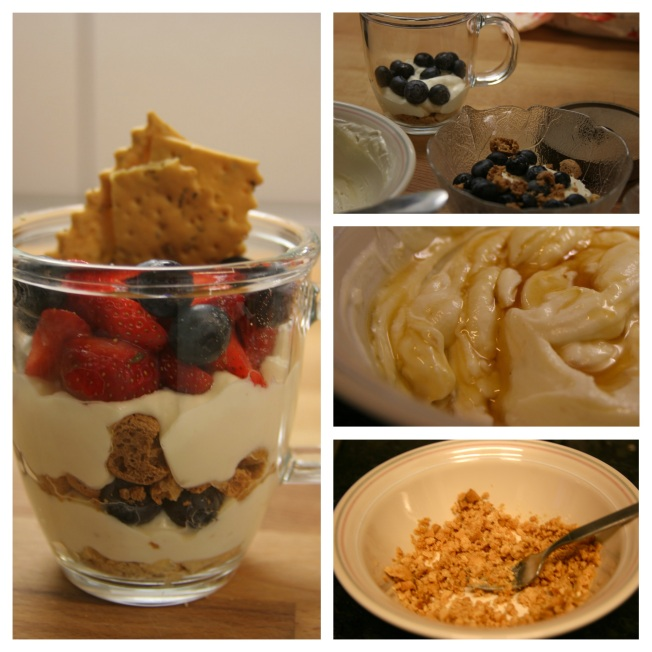 collage of making the dessert