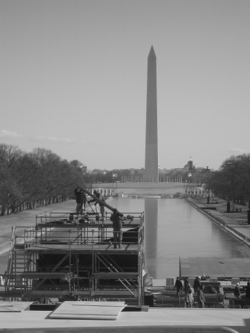 Setting up for the Concert on the Mall