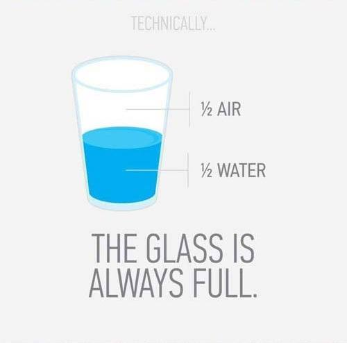 half-empty half-full glass
